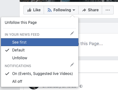 Facebook following button 'see first'